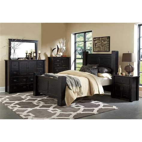 trestlewood black  piece queen bedroom set