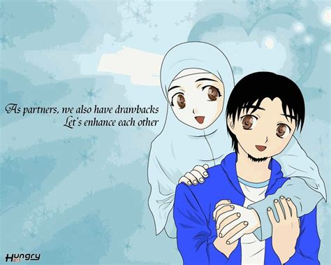 anime muslim couple cute  hijab dream muslim spouse