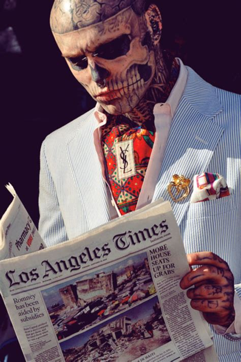 zombie tattoo guy just a skeleton tattooed reading the la times move
