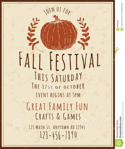 Fall Festival Flyer Template Stock Vector Illustration Of Event Flier 59895089 Free Printable Fall Festival Flyer Templates