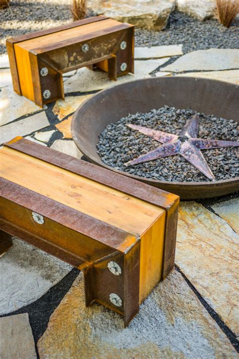 fire pit benches with backs backyard patio pictures from diy network blog cabin 2015
