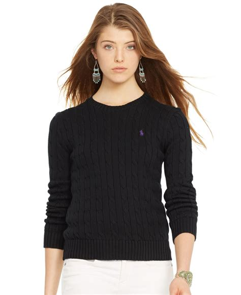 polo ralph crew neck cable knit sweater in black lyst