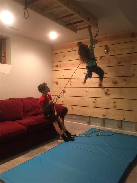 diy basement rock climbing wall on belay vs