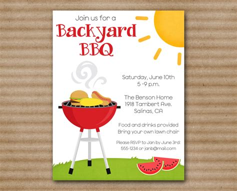 printable grill invitation cookout invitations bbq party invitations online