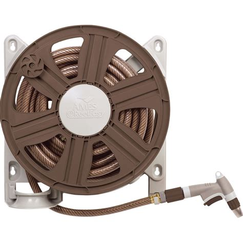 Wall Mount Garden Hose Reel Shop Ames Plastic 100 Ft Wall Mount Hose Reel At Lowes