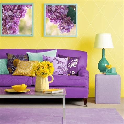 Living Room Purple Yellow How To Use Yellow Color In Interior Design