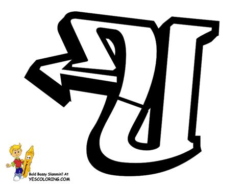 free coloring pages of letter u in graffiti