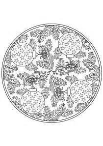 Coloriage Mandala Noel Boules Sur Hugolescargot Com