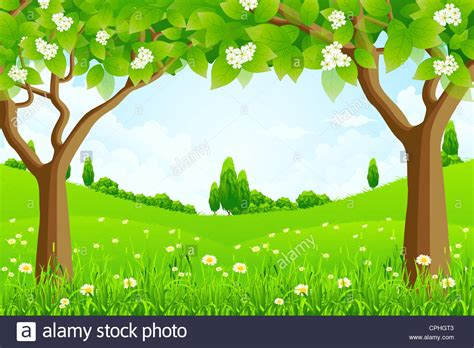 green images green background with trees flowers and stock photo