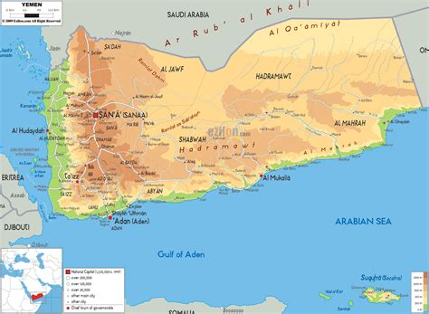 map of yemen physical map of yemen ezilon maps