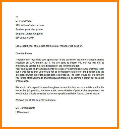 Service Decline Letter 8 how to decline a applicationleter