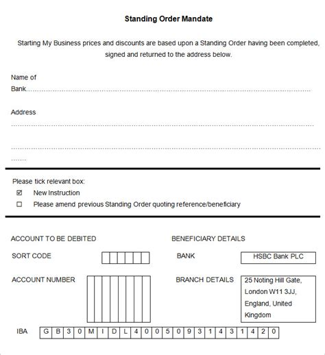 standing order form template standing order template 9 free word pdf documents