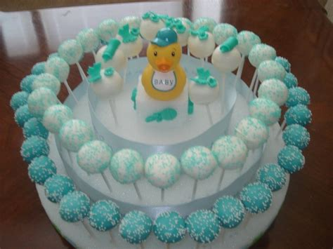 Boy Baby Shower Cake Pops by Jessicakes Project Baby Boy Baby Shower 3 Tier Cake