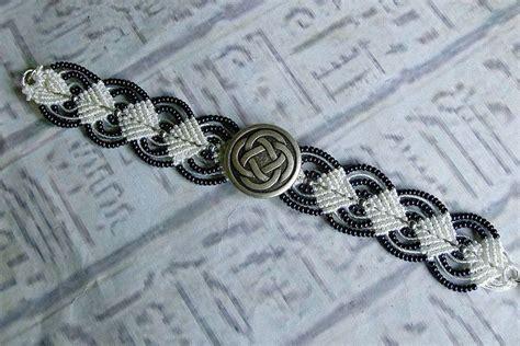 Macrame Celtic Knots - celtic knot beaded micro macrame bracelet in midnight blue