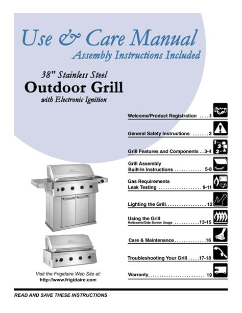 Backyard Grill Manual by Gas Grill Users Guides Quot Gas Grill Quot Page 73