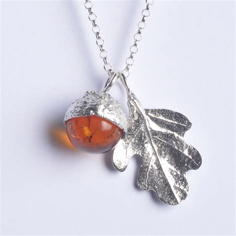 Uk Handmade Jewellery - acorn oak leaf necklace uk handmade jewellery