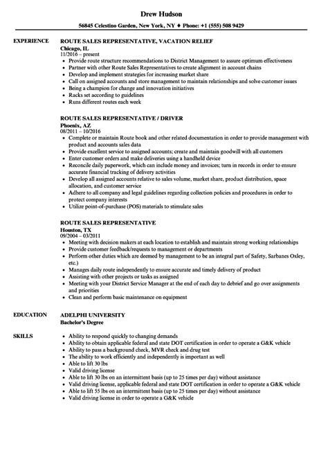 route sales representative sle resume resumes for