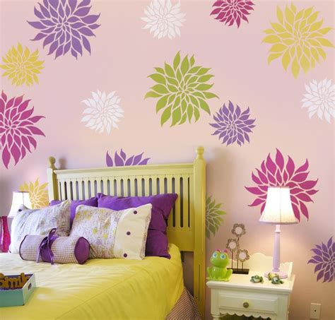 floral wall stencils for bedrooms flower stencil dahlia grande med reusable wall stencils