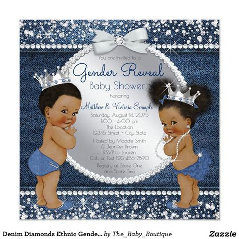 Rnb Etnic F 04 denim diamonds ethnic gender reveal shower card gender reveal invitations ideas