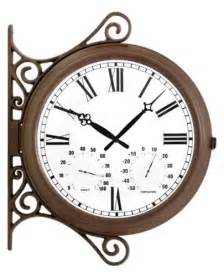 patio clocks rustic outdoor sided station clock
