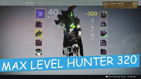 destiny 2 max light destiny 320 light max level hunter the taken king youtube
