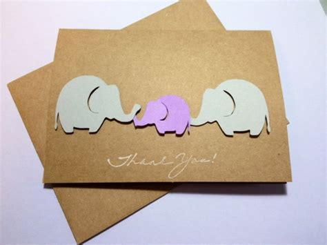 Handmade Baby Shower Thank You Cards - baby elephant thank you note card purple and grey