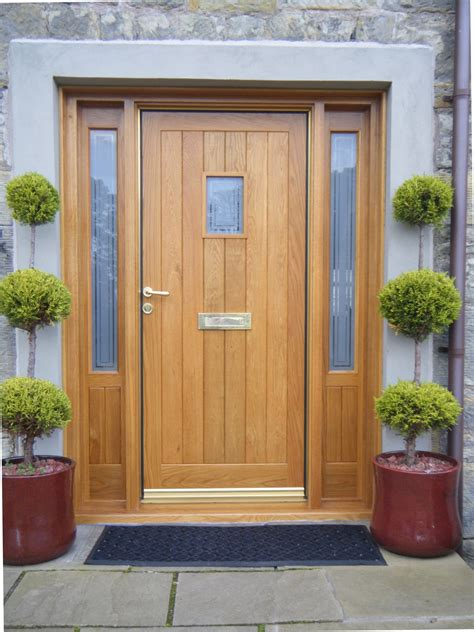 External Oak Front Doors Luxury Solid Wood Front Door With Glass