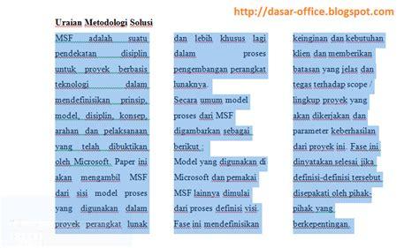 pengertian layout from columnar menambahkan kolom columns dalam ms word