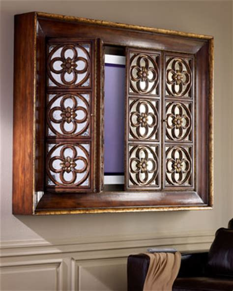 Flat Screen Tv Wall Cabinets With Doors Richard Collection Quatrefoil Flat Screen Tv