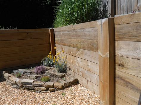 Pine Sleepers Retaining Wall by New Pine Railway Sleeper Wall Project In Stoke