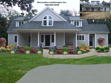 front yard residential landscape design front of home