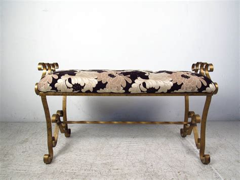 floral bench gilded wrought iron bench with floral upholstery for sale
