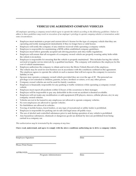 Agreement Letter For Driver Company Vehicle Use Agreement