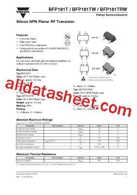 transistor datasheet vishay bfp181tw datasheet pdf vishay siliconix
