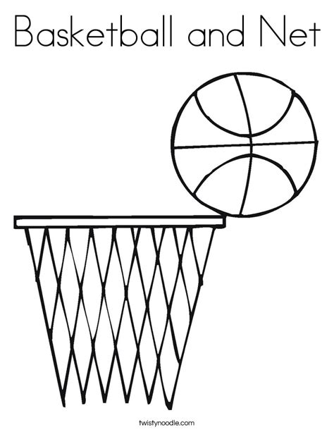 printable coloring pages basketball basketball and net coloring page twisty noodle