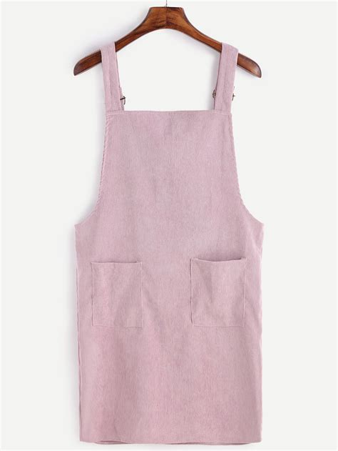 Pink Overall Pocket pink corduroy overall dress with pocket