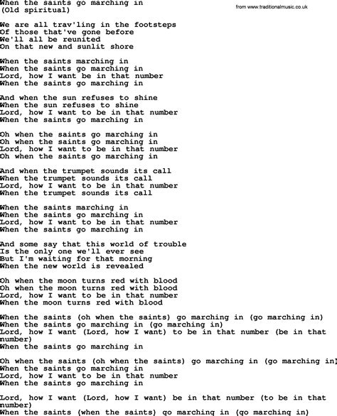 testo go bruce springsteen song when the saints go marching in lyrics