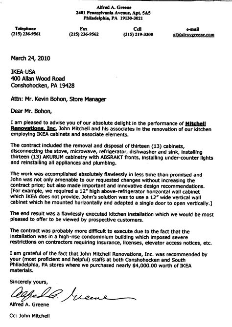 Justification Letter For An Outstanding Performance Rating renovation letter of intent
