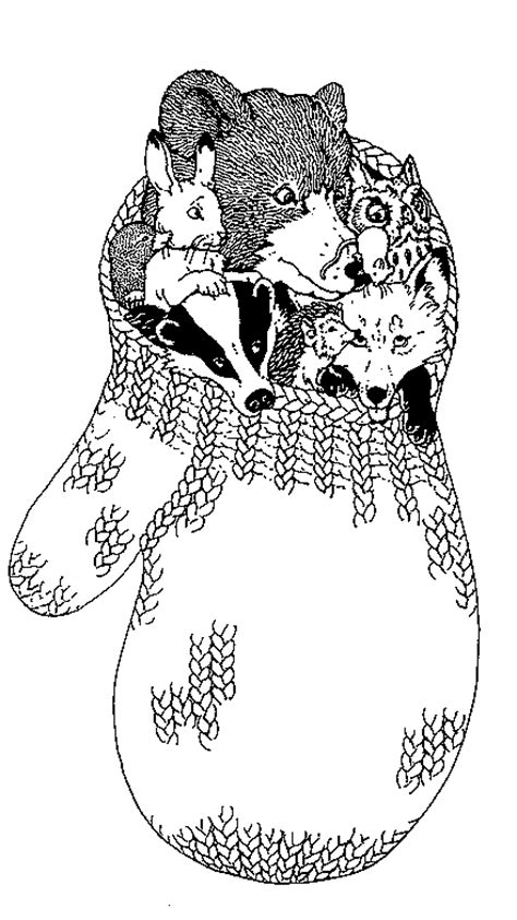 animals of the mitten coloring page