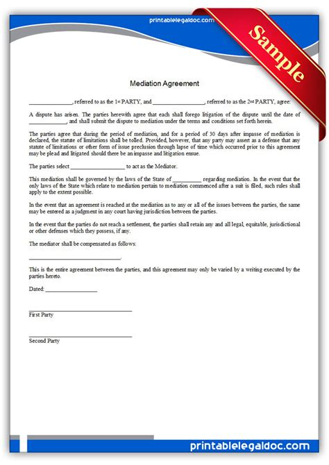 Free Printable Mediation Agreement Form Generic Agreement To Mediate Template