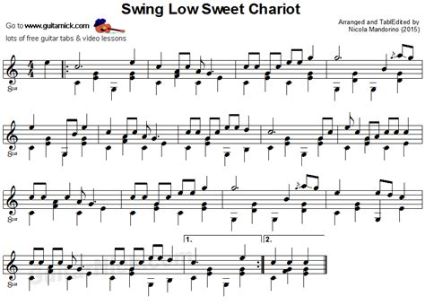 swing swing guitar tab swing low sweet chariot fingerstyle guitar lesson