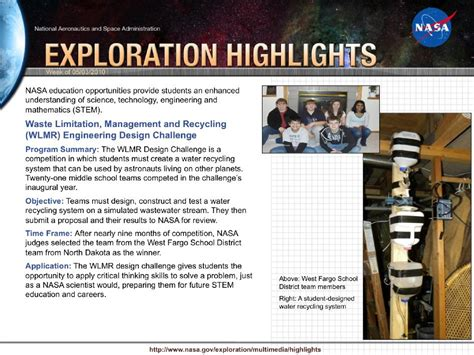 national engineering design challenge nasa waste limitation management and recycling wlmr