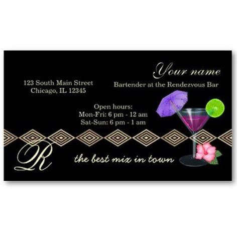 Bartender Business Cards
