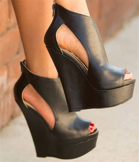 high heels with platforms comfortable soft leather black women sandal wedge high heels