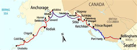 seattle to juneau map alaska ferry route map