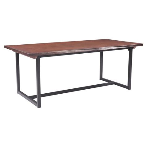 distressed oak dining table zuo papillion distressed cherry oak dining table 100435