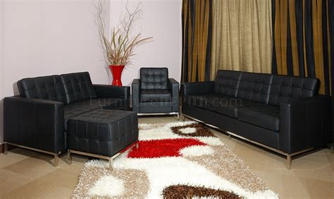 a39 living room set full leather black by esf furniture black full leather button tufted 4pc living room set