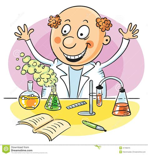 Scientist and his successful experiment stock vector image 47780375