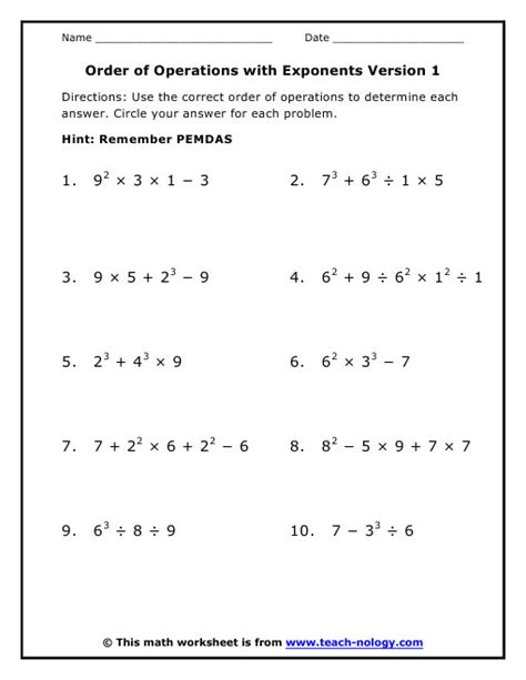 Pemdas Worksheets 5th Grade