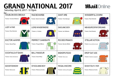 Sweepstake Kit - grand national sweepstake kit for 2017 race at aintree daily mail online